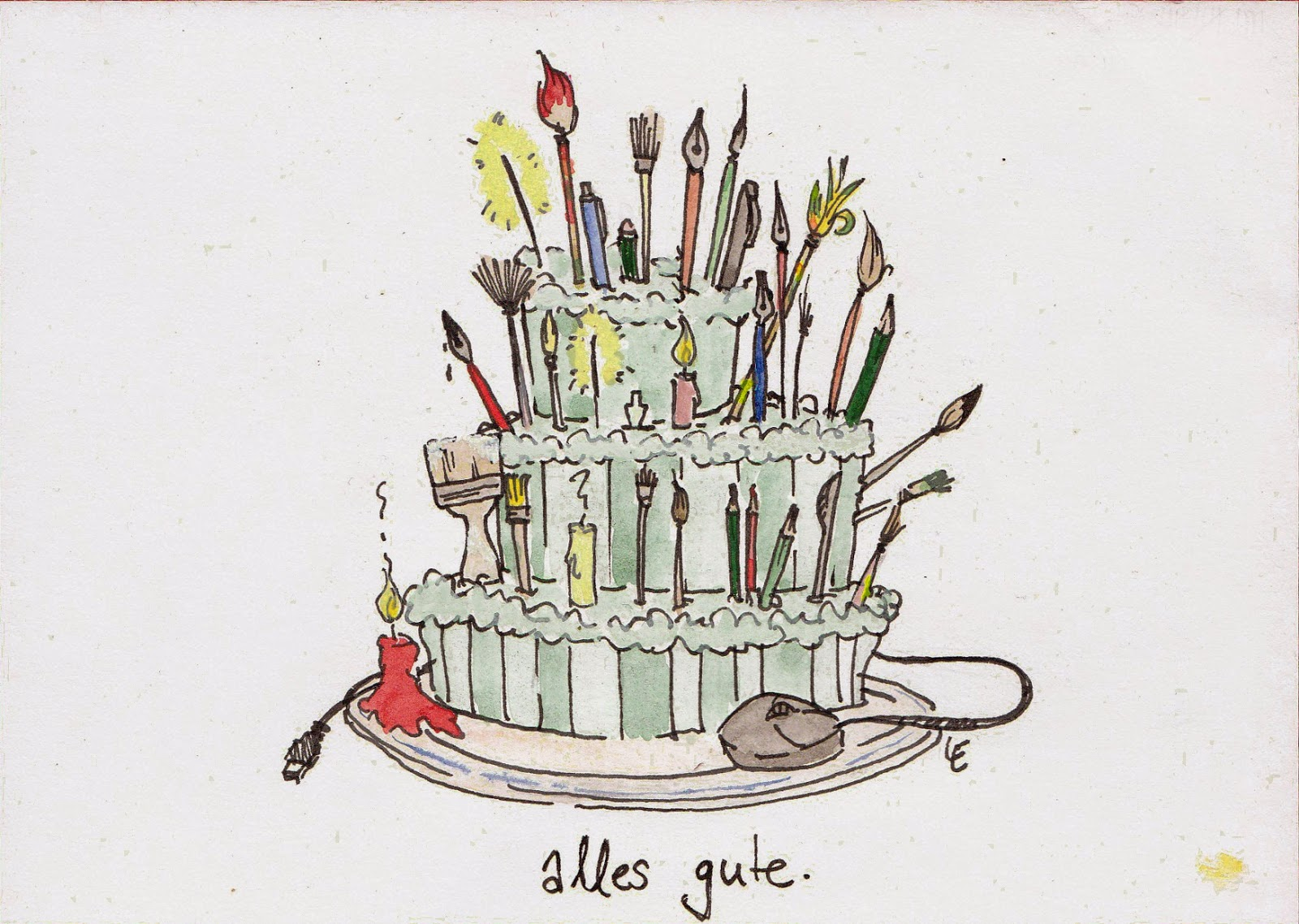 birthday cake decorated with artist implements